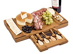 Multifunctional Cutting Board: With premium stainless steel standard cutlery and durable sturdy board, the serving board set provides endless possibilities for you to slice all sorts of food, such as vegetables, fruits, bread and meat. With deep groo...
