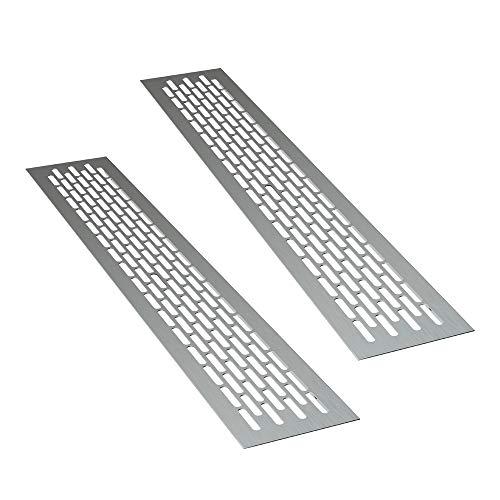 sossai® Rejillas de ventilación de aluminio - Alucratis (2 piezas) | Rectangular - dimensiones: 48 x 8 cm | Color: aluminium | rejilla de aire