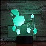 YDBDB Luz nocturna Perro Poodle Lámpara de escritorio Lado de la cama Ilusión 3D 7 Cambio de color Lámpara decorativa Niño Niño Bebé Kit Perro Led