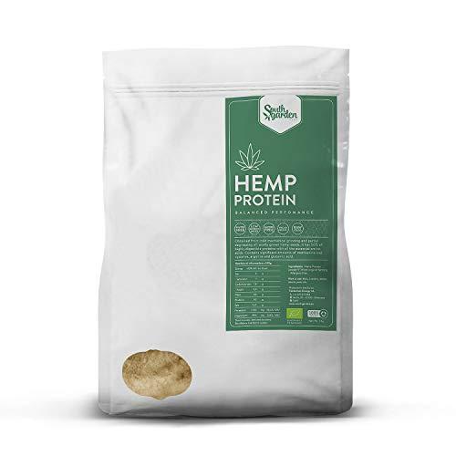 Poudre Protéine de Chanvre - Hemp Protein Powder BIO 1 Kg | SOUTH GARDEN | 50% de protéines végans brutes | Végan | Sans gluten | Sans produits laitiers | Sans sucre ajouté | Fabriqué en Espagne