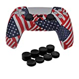 PS5 Controller Skins,Water Transfer Printing Anti-Slip Silicone Case Cover for Playstation 5 Controller, PS5 DualSense Wireless Controller Accessories with 8 Thumb Grip Caps