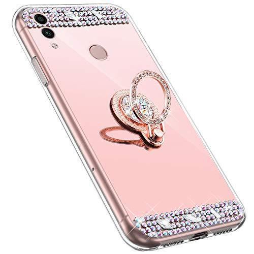 MoreChioce kompatibel mit Huawei Honor 8C Hülle,Huawei Honor 8C Glitzer Hülle mit Ring,Bling Glitzer Rosa Gold Spiegel Silikon Diamant Schutzhülle Strass Crystal Defender Bumper mit Ständer