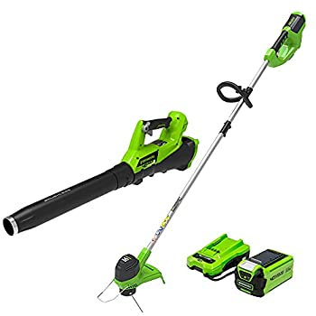 Greenworks G-MAX 40V Cordless String Trimmer and Leaf Blower Combo Pack 2.0Ah Battery and Charger Included STBA40B210
