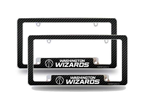 Rico Industries Washington Wizards NBA (Set of 2) Chrome Metal License Plate Frames with Carbon Fiber Design