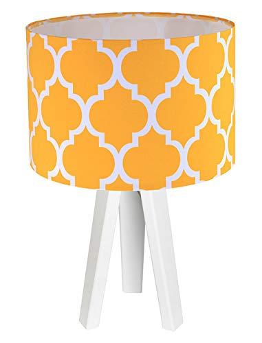 Tischlampe Weiß Orange 60er Jahre Motiv Dreibein Stoff Holz 46cm hoch E27 Nachttischleuchte ERIK