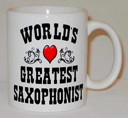 Taza de cerámica con diseño de saxofonista del mundo