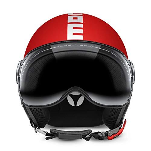 MOMO Design Classic Helm Rot matt – Weiß, Größe L