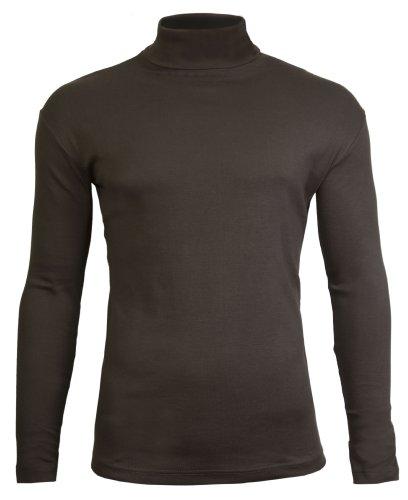 Polo pour Hommes Haute Cous de Ski qualité Coton de Jersey Stretch (X-Small, Brun)