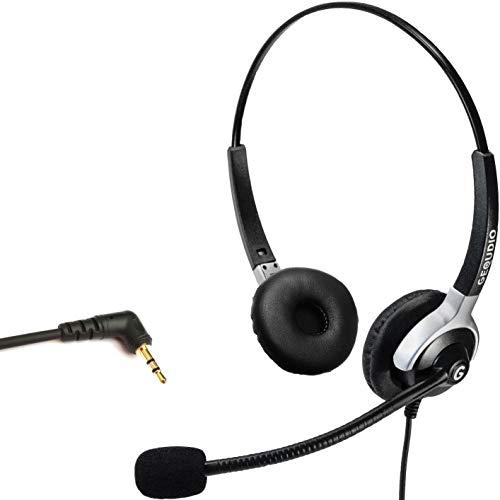 GEQUDIO Headset mit 2,5mm Klinke geeignet für Gigaset ®, Panasonic ® Telefone, mit Kabel, 80g leicht