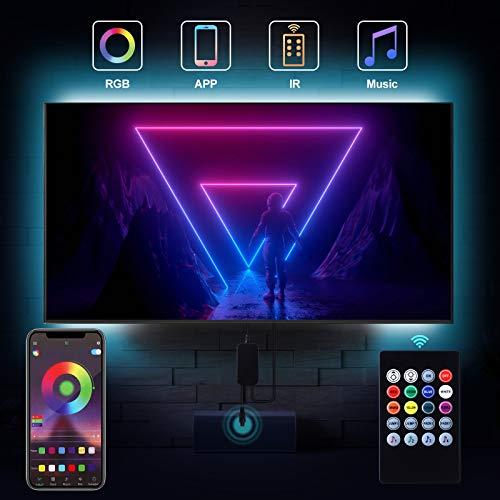 Bewahly LED TV Hintergrundbeleuchtung 3M, APP Steuerung USB LED Strip, Dimmbar RGB LED Streifen mit Fernbedienung, Fernseher Beleuchtung Lichtband Wasserdicht LED Band für 40-65 Zoll HDTV, PC-Monitor