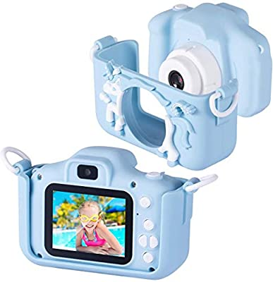 Bosszi Kids Digital Camera Mini Camcorder for Boys and Girls | 2.0 Inches Digital Dual Camera | 20.0MP HD Video Camcorder Anti-Drop Children Cartoon Selfie Camera for Gift - with 32G SD Card from Bosszi