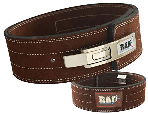 RAD Weight Lifting Belts Powerlifting and Weightlifting Belt with Lever Buckle, 10mm (Brown, XL)