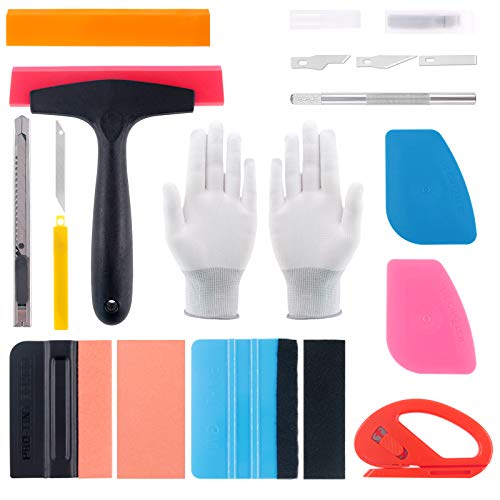 Glarks Car Window Tint Film Tool Kit, 35Pcs Vehicle Vinyl Wrap Tool Inluding Felt Squeegee with Spare Fabric Felts, Film Scrapers, Snitty Vinyl Cutter, Utility Knife, Carving Knife and Blades, Gloves