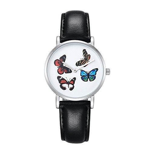 LULI 6812 Stave Dial Alloy Flatware Case Relojes de Cuarzo para Mujer de Moda con Banda de Cuero PU (SKU : Wa0731a)