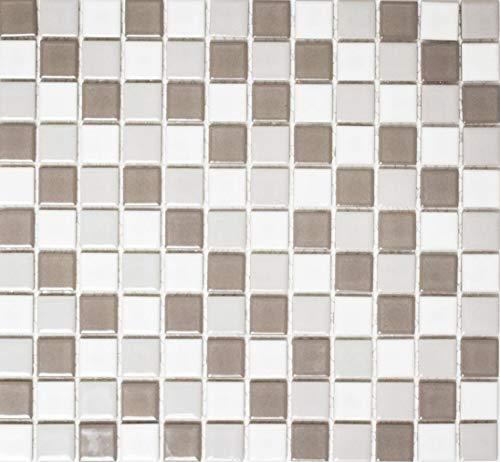 Mosaik Quadrat mix grau/weiß glänzend Keramik Mosaik, Mosaikstein Format: 2,5x2,5x6 mm, Bogengröße: 330x302 mm, 1 Bogen/Matte