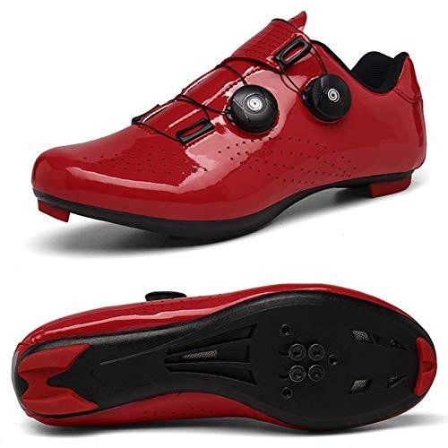 Zapatillas de ciclismo para hombre, ultraligeras, con autobloqueo, transpirables, antideslizantes, color rojo, rojo, 43 EU