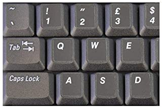 HQRP White English USA UK QWERTY Keyboard Stickers on Black Background for All PC/Laptops/Notebooks