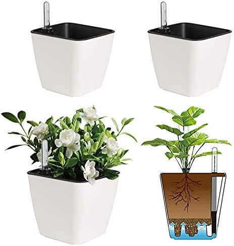T4U 5 5 Inch Self Watering Plastic Planter with Water Level Indicator Pack of 3 Matte White product image