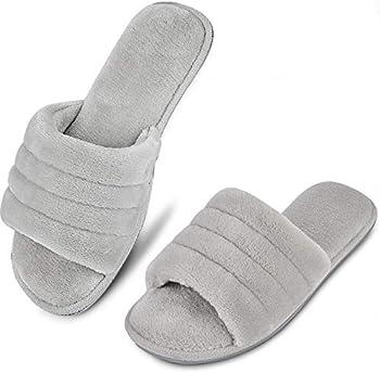 DL Women's Memory Foam Open Toe Slide Slippers