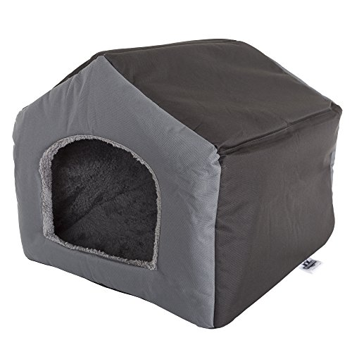 PETMAKER Cozy Cottage House Shaped Pet Bed, Gray, 19' x 18.5' x 17'