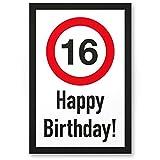 DankeDir! 16 Jahre Happy Birthday Kunststoff Schild - Geschenk 16. Geburtstag Geschenkidee Geburtstagsgeschenk Sechzehnten Geburtstagsdeko Partydeko Party Zubehör Geburtstagskarte