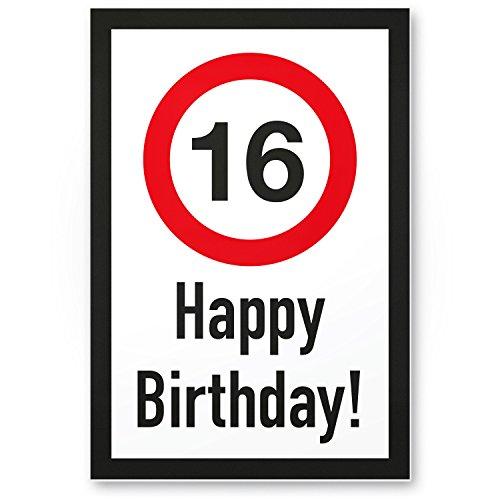 DankeDir! 16 Jahre Happy Birthday Kunststoff Schild - Geschenk 16. Geburtstag, Geschenkidee Geburtstagsgeschenk Sechzehnten, Geburtstagsdeko/Partydeko/Party Zubehör/Geburtstagskarte