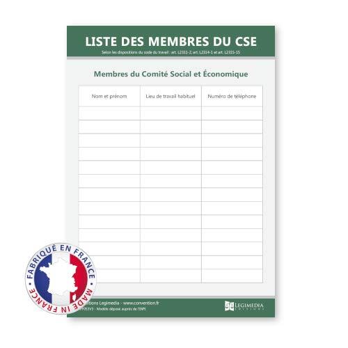 Liste des membres du CSE en entreprise - Panneau d'affichage - Plastifié et effaçable - Fabriqué en France