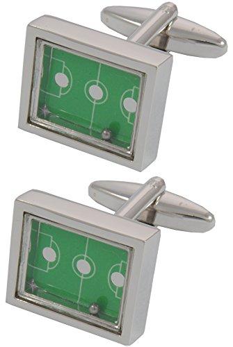 COLLAR AND CUFFS LONDON - Gemelos Caja DE Regalo - Campo De Fútbol - con Una Pelota En Movimiento - Latón - Color Plata y Verde - Sport Deporte Rectángulo Juego Football Soccer