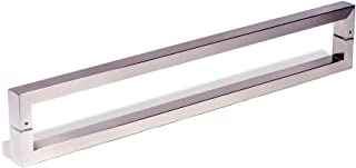 24 Inch Square Rectangle Flat Shape Bar Stainless Steel Modern Contemporary Entry Door Handle Bar Pull Shower Glass Sliding Barn Door Interior Exterior Door Pull Push Brush Nickel Satin Finish