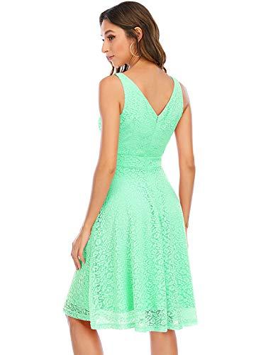 Kleid Damen Damen Kleider Abendkleider Gelb kurz Rockabilly Kleider Damen Vintage Kleid Kleid Hochzeit gast cocktailkleid festliches Kleid mädchen Mint S