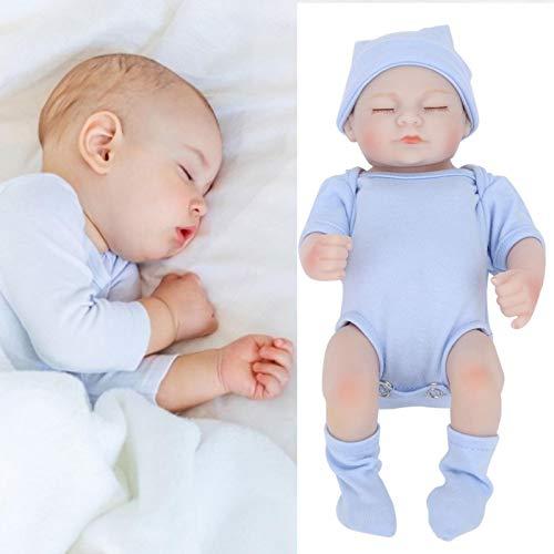 Muñecas Reborn, muñeca de juguete para niñas de 10 pulgadas, juego de muñecas para bebés, muñeca realista de silicona,(blue, Eyes closed)