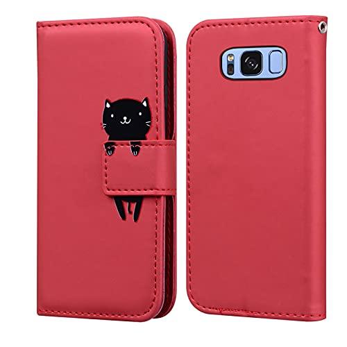 Custodia Samsung Galaxy S8, LUCASI Galaxy S8 Simpatico Cartone Animato Cover in Pelle, Supporto Stand, con Magnetica a Scatto, Flip Wallet Case, per Samsung S8, Rosso