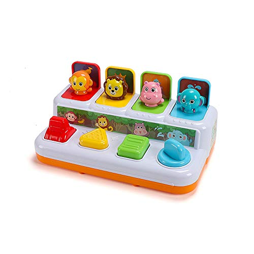 QREZ Musical Activity Cube, Puzzle Pop Up Children Toys Different Lighting&Sound Early Education Music Activity Center Best Gift Toys for Boys and Girls Toddlers Kids