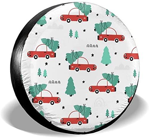 Cubierta roja para llantas de repuesto para autos y árboles de Navidad,poliéster,universal,de 17 pulgadas,para llantas de repuesto para remolques,vehículos recreativos,SUV,ruedas de camiones,camiones