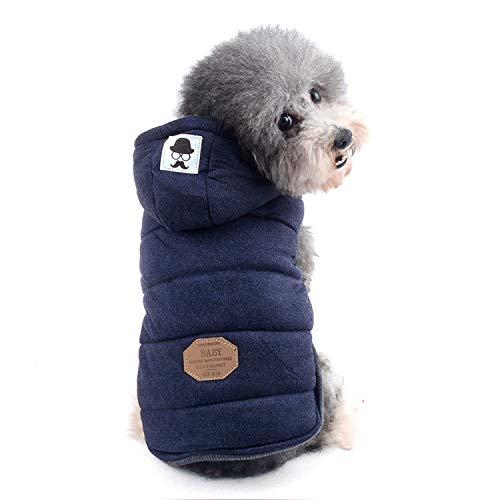 ZUNEA Chaleco de Perro pequeño Forro Polar Forrado Abrigo de Invierno cálido Chaqueta de Cachorro con Capucha a Prueba de Viento Mascota Chihuahua Sudadera Ropa de Perrito Prendas de Vestir Azul S