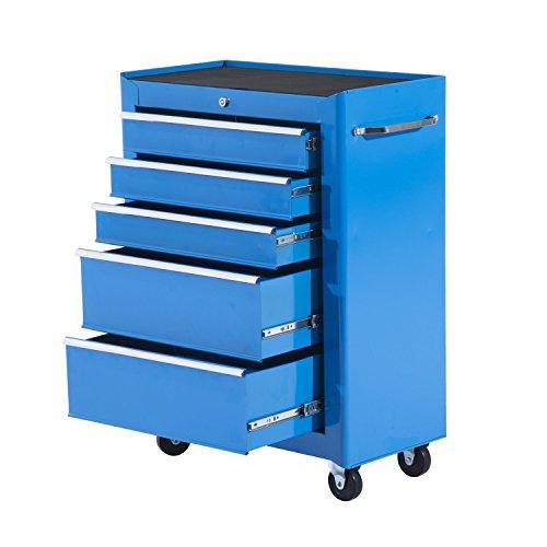 HOMCOM Carrello Porta Utensili per Attrezzi Attrezzatura con Cassettiera 61.5 x 33 x 85cm Azzurro