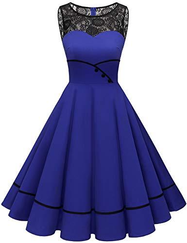 Bbonlinedress Rockabilly Kleider Damen prinzessinenkleid mädchen Kleid Hochzeit gast cocktailkleid Damen Vintage Kleid Rockabilly Kleider Damen Royalblue M