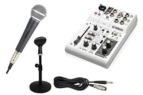 YAMAHA AG03 録音セット 動画配信 -カンタン配信スタートセット(ダイナミックマイク、スタンド、AUXケーブル付)-
