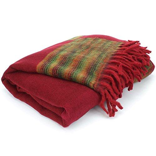 Nittin Handlooms Tibetisch Yak's Wolle Schal Decke - Rot mit Grünem & Rot Reverse, One Size