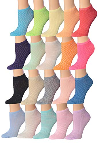 Tipi Toe Women's 20 Pairs Colorful Patterned Low Cut/No Show Socks WL15-AB