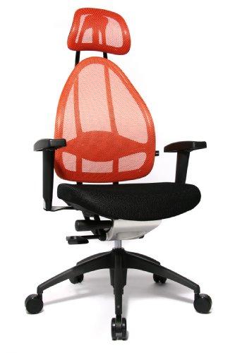 Topstar Open Art 2010 ergonomischer Bürostuhl, Schreibtischstuhl, inkl. höhenverstellbare Armlehnen, Rückenlehne und Kopfstütze, Stoff schwarz/ orange