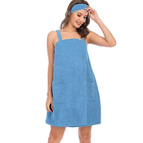 Conjunto de albornoz para mujer, toalla de baño para mujer, sin mangas, vestido de rizo con correas de spa, ropa de dormir, ropa de dormir y cabezal de ducha de pelo, azul claro, XL