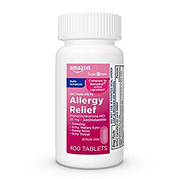 Amazon Basic Care Allergy Relief Diphenhydramine HCl 25 mg Antihistamine Tablets for Symptoms Due to Hay Fever and Upper Respiratory Allergies 400 Count