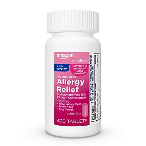 Amazon Basic Care Allergy Relief Diphenhydramine HCl 25 mg, Antihistamine Tablets for Symptoms Due to Hay Fever and Upper Respiratory Allergies, 400 Count