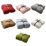Tangpingsi Manta térmica de punto para aire acondicionado, de un solo color, suave sección, tejido de algodón, para sofá, viaje, oficina
