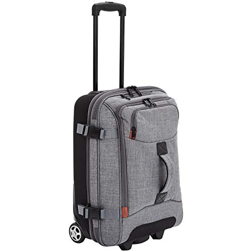 AmazonBasics Rolling Travel Duffel Bag Luggage with Wheels, Small, Grey