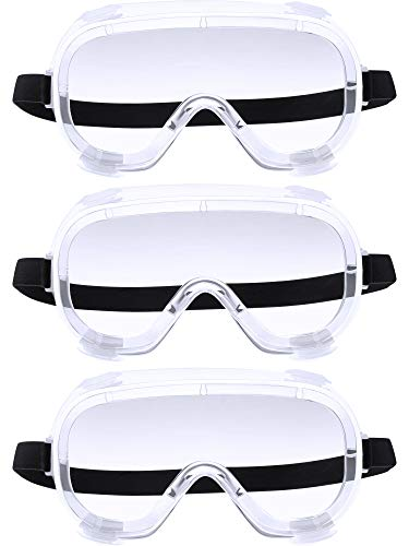 3 Pieces Traditional Technician Safety Goggle Adjustable Goggles Chemical Splash Impact Resistant Goggle Clear Anti-Fog Lens Eyewear for Eye Protection (Transparent)