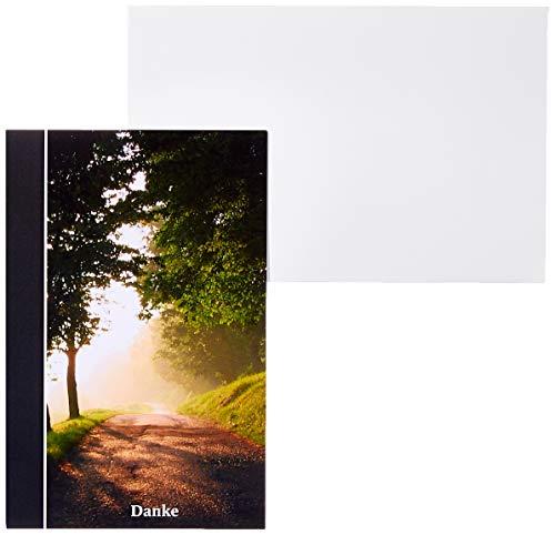 """10 x Danksagung Trauerkarten\""""Waldweg\"""" im Set mit passenden Umschlägen - Trauerdanksagungskarten - Danke sagen nach Trauer, Beerdigung, Sterbefall, Friedhof, Begräbnis"""
