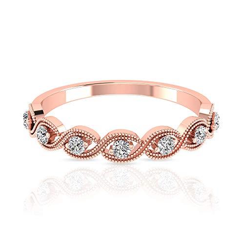 Anillo de aniversario de diamante certificado IGI de 0,32 quilates, oro sólido de 14 quilates, anillo de novia de boda con cuentas, grabado milgrain vintage, 18K Oro rosa, Size:EU 55