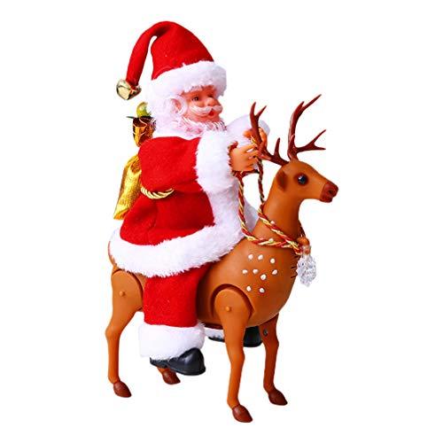 ABOOFAN Navidad de Peluche de Juguete Elctrico Animado Musical Santa Claus Alce de Peluche Animal de Peluche Reno Animado de Peluche de Juguete Twerking Navidad Santa Mueca Divertido